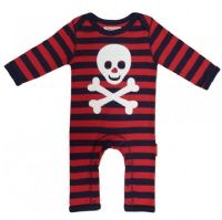 A cool and funky Pirate applique sleepsuit by UK designer Toby Tiger.  100% super soft cotton.