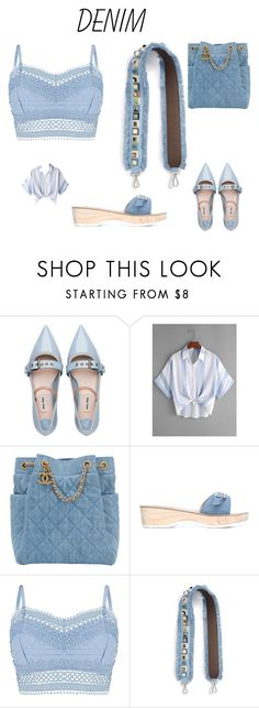 """""""Denim"""" by matilde-alla ❤ liked on Polyvore featuring Miu Miu, Chanel, Ancient Greek Sandals, Lipsy and Fendi"""