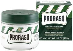 Proraso Pre-shave Cream, Refresh, 3.6 Ounce by Proraso. $13.00. New Formulation. Crema Pre e Dopo Barba. Made in Italy. 100 ml. The first product in the Proraso range, the one that made it so popular amongst Italian barbers and men. Proraso's pre-shave cream has a particularly thick, concentrated texture. This means it prepares the stubble and makes the skin elastic, ready for a problem-free shave.