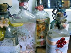 decoupage old bottles