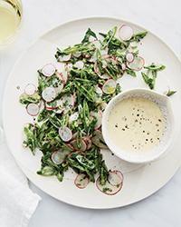 snap peas + radishes + tahini