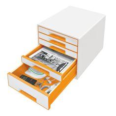 Leitz 52141044 Wow Cube Schubladenbox (Polystyrol) 5 Schubladen perlweiß/orange