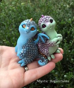 Handmade one of a kind Polymerclay Dragon Pal Sculptures by Mystic Reflections. Polymer Clay Creations, Mystic, Garden Sculpture, Sculptures, Dragon, Statue, Dolls, Outdoor Decor, Handmade