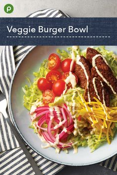Use soy-based burgers as a delicious base. Publix Recipes, Veg Recipes, Healthy Salad Recipes, Vegetarian Recipes, Healthy Meal Prep, Healthy Food, Healthy Eating, Pescatarian Diet, Clean Eating Plans