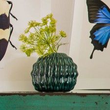 Small Green Pleated Ball Vase