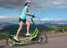 A bicycle/elliptical trainer hybrid. Takes low-impact cardio into the great outdoors.