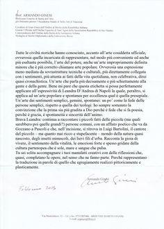 Critica del Prof.Armando Ginesi  Allartista Leandra D'Andrea in Art. Ledy Napule