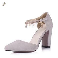 A&N Womens Buckle Chains Pointed-Toe Gray Urethane Pumps Shoes - 4.5 B(M) US - An pumps for women (*Amazon Partner-Link)
