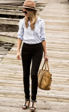 tucked in blouse, high waisted denim