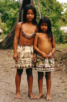 Amazon girls - , Amazonas. I really want a skirt like the one on the right with the green in it.