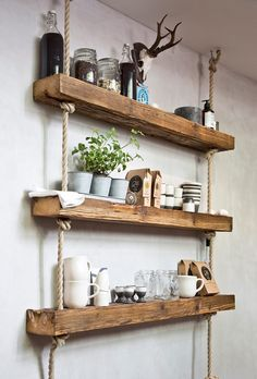 Easy and Stylish DIY wooden wall shelves ideas. – Chine LindemAnn Easy and Stylish DIY wooden wall shelves ideas. Easy and Stylish DIY wooden wall shelves ideas. Diy Wooden Wall, Wooden Wall Shelves, Floating Shelves, Hanging Shelves, Diy Hanging, Rustic Shelving, Wooden Decor, Farmhouse Shelving, Farmhouse Style