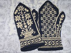 Ravelry: Floral Sampler Mittens pattern by Sonngard Reichle Knitted Mittens Pattern, Knit Mittens, Knitted Gloves, Knitting Socks, Hand Knitting, Knitting Charts, Knitting Patterns, Fair Isle Knitting, Knitting Accessories