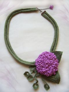 Flower crochet necklace, Handmade jewelry, Purple flower crochet, Hydrangea, Green & Pink necklace, Crochet jewelry, Summer accessory