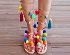 Pom pom sandals/ Tie up Gladiator Sandals/ Boho by magosisters Tie Up Sandals, Pom Pom Sandals, Lace Up Gladiator Sandals, Boho Sandals, Fringe Sandals, Leather Sandals, Beach Wedding Sandals, Bridal Sandals, Boho Shoes