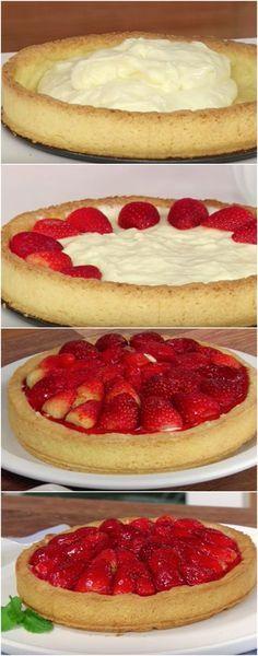 TORTA DE MORANGO CREMOSA, a melhor que você vai experimentar! #torta #morango #tortademorango #tortacremosa Cake Cookies, Cupcake Cakes, Cupcakes, Cheesecakes, Nutella, Food To Make, Food And Drink, Pie, Nutrition
