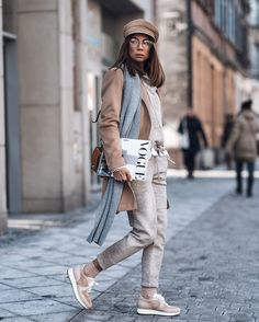 Hat Beret Sport Trousers Blue Scarf Glasses Street Casual Style Fashion Look Spring Summer 2018 It-girl