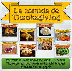 12 printable Spanish words and images for Thanksgiving foods Teaching French, Teaching Spanish, Spanish Words, Relleno, Thanksgiving Recipes, Printable, Foods, My Love, Turkey Bird