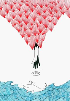 Whale Illust, HELP! Pen illust by Denseline, Seongmin Jang