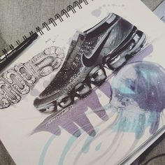 These shoes have really grown on me. They really do look different in person and it's hard to capture their form on paper. The Vapormax reminds me of the jellyfish so I decided to include a sketch of them on the page. What are your thoughts on the Vapormax? I would love to know what you guys think and feedback is always welcome ☺ #picoftheday #industrialdesign #shoedesign #love #drawing #motivation #goals #inspiration #nike #Vapormax #lacelessdesign #ckinspiration #nature #fun #doodles… Designs To Draw, Cool Designs, Cool Pencil Drawings, Sneakers Sketch, Adidas Design, Shoe Sketches, Industrial Design Sketch, Prop Design, Sketch Markers