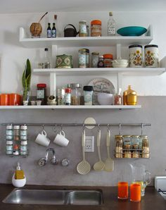 Creative Shelving Ideas for Kitchen - Diy Kitchen Shelving Ideas - kitchen shelves instead of cabinets diy small spaces - Kitchen Interior, New Kitchen, Kitchen Decor, Kitchen Ideas, Kitchen Colors, Design Kitchen, Diy Kitchen Shelves, Kitchen Storage, Diy Storage