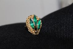 Emerald Green Rhinestone Gold Tone Size 6 by TreasuresFromUs