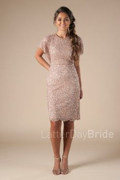 modest homecoming dresses with flutter sleeves and sequins, the Nessa in blush