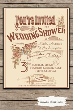 Wedding Shower Invitation, Vintage Wedding Shower Invitation,DIY Printable Invitation,floral vintage invitation, 006. $15.00, via Etsy.