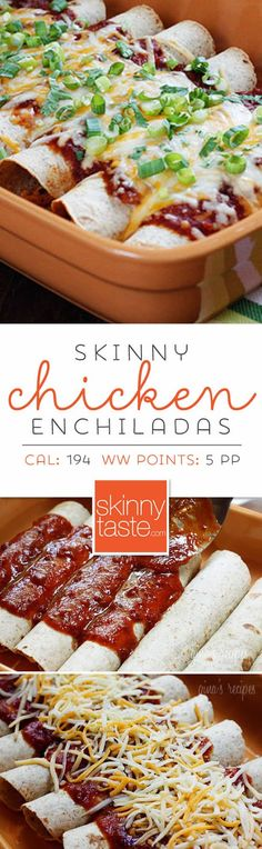 Skinny Chicken Enchiladas – these are the BEST chicken enchiladas ever! Perfect for Cinco De Mayo!