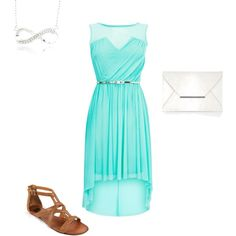 Dressy Summer Outfit. Teal dress, Id switch the shoes to a cute white sandal or wedge