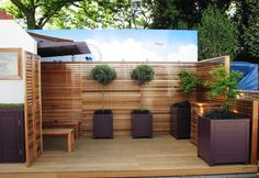 RHS Chelsea 2010 Slatted Panels and Contemporary Planters Contemporary Planters, Deck Pictures, Deck Landscaping, Garden Spaces, Decking, Home Projects, Garden Ideas, Chelsea, Yard
