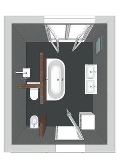 Gescheiden toilet/bidet, douche en bad. Fraaie oplossing.