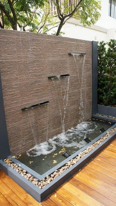 Top Home Indoor Water Features Design Ideas - Page 38 of 88 The Effective Pictures We Offer You About Indoor water fountains how to make A quality picture can tell you many things. You can find th Outdoor Wall Fountains, Indoor Water Fountains, Garden Fountains, Indoor Fountain, Backyard Water Feature, Ponds Backyard, Backyard Patio, Modern Water Feature, Backyard Waterfalls