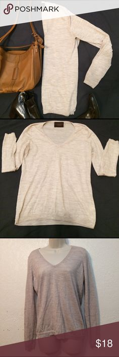 Victor Alfaro Extra fine Merino Sandstone sweater Victor Alfaro extra fine Merino women's sandstone vneck long sleeve thin Knit blouse.  Size large 100% Wool nwot victor alfaro Tops Blouses