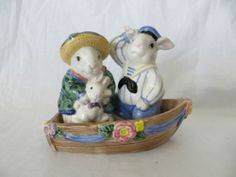Hand Painted Fitz Floyd Easter Rabbits ON A Boat Salt Pepper Shakers | eBay