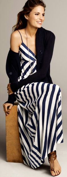 Blue and white striped maxi dress with cardigan
