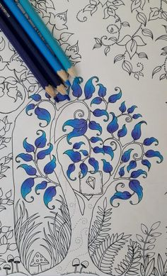 Color Pencil Drawing Ideas Floresta encantada - The Blue Tree - Enchanted Forest Leaf Coloring, Colouring Pages, Adult Coloring, Coloring Books, Coloring Tips, Enchanted Forest Book, Enchanted Forest Coloring Book, Forest Drawing, Johanna Basford Coloring Book