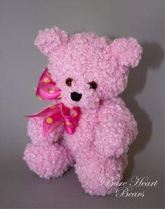 Soft Rose Teddy Bear/Hand Knitted Teddy Bear/Collectible Teddy Bear/Artist Teddy Bear