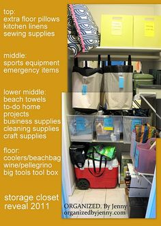 Organized Storage/utility Closet: Includes Sports Equipment, Cleaning And  Craft Supplies, Emergency