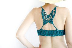Crochet+yoga+bra+in+petrol+Lace+crochet+Crop+Top+Halter+por+MarryG,+$29.00