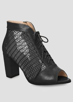2793e9085 Mesh Chunky Heel Bootie - Wide Width Wide Shoes