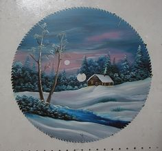 painted winter on sawblade | Winter At The Log Cabin Painting - Winter At The Log Cabin Fine Art ...