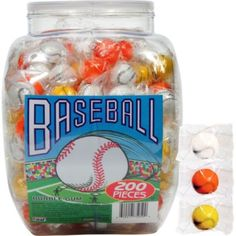 Baseball Gum 200ct - Party City; Put in Mason jars for centerpieces!?