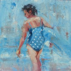Blue Belle  Woman at Beach  Original Oil by Robin by robincheers, $500.00