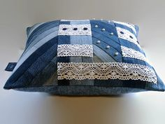 Denim Pillow Cover Vintage Lace and Blue by SuzqDunaginDesigns, $60.00