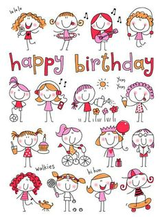 58 Super Ideas For Birthday Drawing Doodles Happy Doodle Art, Doodle Drawings, Easy Drawings, Happy Birthday Quotes, Happy Birthday Greetings, Happy Birthday Little Girl, Drawing For Kids, Art For Kids, Doodles