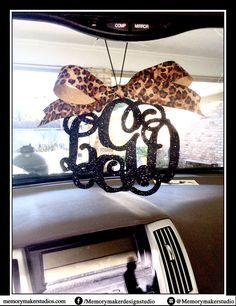 Glitter Monogram Car Decal Custom Name Car Decal  Inch Monogram - Custom vinyl decals for car interior