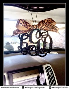 Glitter Rear view mirror charm, Rear view mirror Monogram, glitter car monogram, Rearview mirror accessories, rear view mirror ornament by MemoryMakerStudio on Etsy