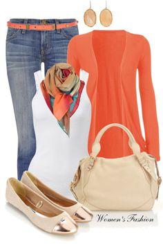 Boot cut jeans, orange skinny belt, orange cardigan, white tank top, nude purse, nude & gold flats.