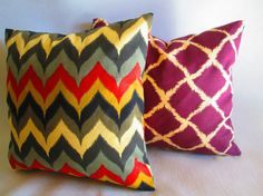15 SALE Pair of Designer Ikat Decorative throw pillow by LivePlush, $45.00
