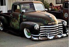 slammed and white wall tire sporting Chevrolet Advanced Design short bed pickup truck - 1947 1948 1949 1950 1951